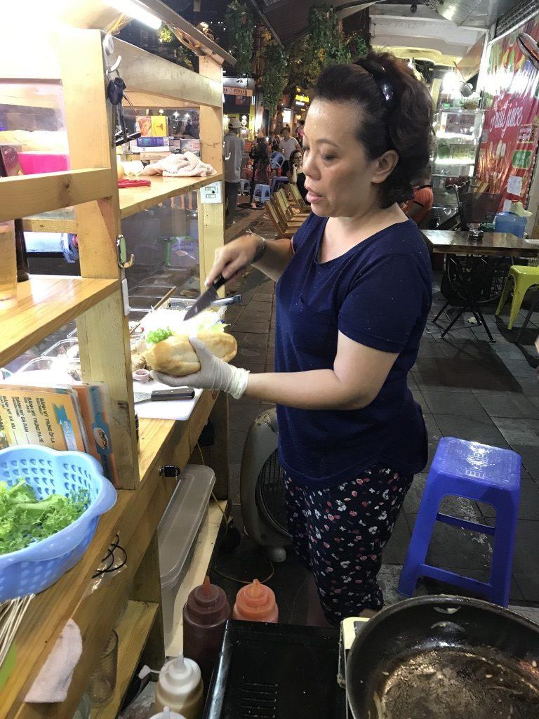 Homemade Bahn Mi preparation at Old Quarter, Hanoi