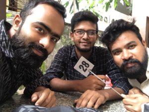 We three at Joma Bakery.(From left to right: Arjun Virmani, Jaytosh Srivastava, Yashu Mittal)